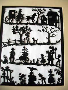 Vintage Paper Silhouette Victorian Family Scene by Holliezhobbiez