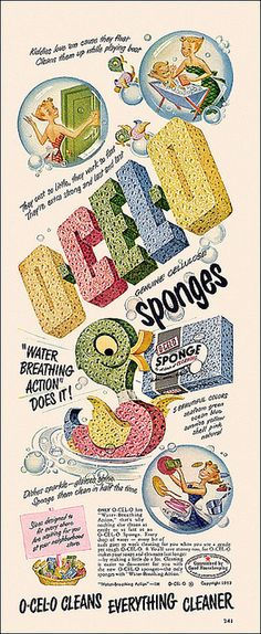 A cute and cheerful 1950s ad for O-Cel-O Sponges. #housework #cleaning #1950s #homemaker #vintage
