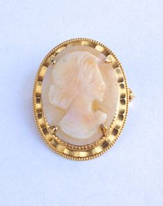 Cameo Brooch Victorian Revival Carved Shell by WhirleyShirley