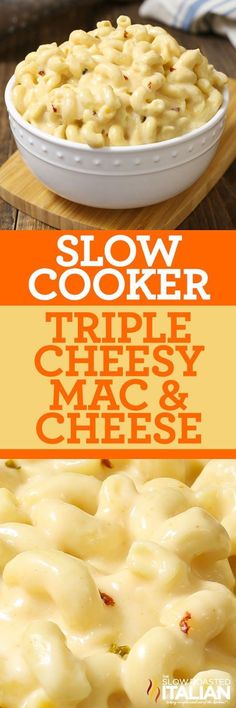 Slow Cooker Triple Cheesy Mac and Cheese ~ a simple recipe that you can toss together in just 5 minutes.pure comfort in a bowl, with perfectly tender corkscrew pasta and a luscious pepper jack and cheddar cheese sauce! Cheesy Mac N Cheese Recipe, Crockpot Mac And Cheese, Crockpot Dishes, Crock Pot Slow Cooker, Slow Cooker Recipes, Cooking Recipes, Cheese Recipes, Slow Cooker Mac Cheese, Crockpot Veggies