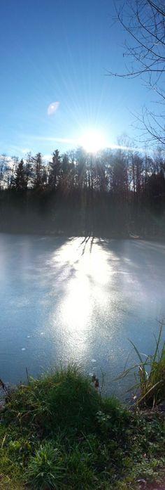 Rotenturmer Teich, das erste Eis in diesem Jahr bei strahlendem Sonnenschein. Das war ein wunderschönes Walken...