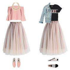 """wearing a chicwish skirt"" by milaku ❤ liked on Polyvore featuring Topshop, Vans, Chicwish and Hollister Co."
