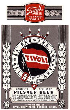 Tivoli Pilsner Beer by All Over Beer Photography, via Flickr Vintage Beer Signs, Vintage Ads, Vintage Posters, Drink Labels, Bottle Labels, Pilsner Beer, Beer Art, Beer Poster, Belgian Beer