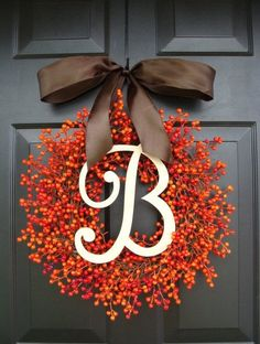 BESTSELLING Weatherproof Orange Berry Fall Wreath,Fall Outdoor Monogram Wreath Thanksgiving Wreath, Fall Decor with Weatherproof Berries Fall Decor – Monogram Berry Wreath. With a different bow, I would love this. Fall Crafts, Holiday Crafts, Diy And Crafts, Holiday Decor, Holiday Wreaths, Thanksgiving Holiday, Monogram Wreath, Diy Wreath, Wreath Fall