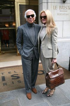 Fashion legend Ralph Lauren met Ricky Anne Loew-Beer in 1964 at an eye doctor's office in New York, where Ricky was working as a receptionist. 46 years later, the couple is photographed looking all American and preppy as ever in Paris, April 2010.