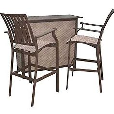 Panama Jack Outdoor Island Breeze 3-Piece Slatted Bar Set, Includes 2 Stationary and 30-Inch Barstools and Bar Table