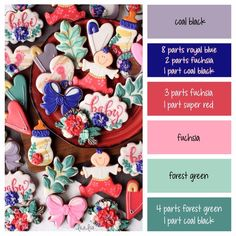 Floral garden cookie decorating color palette and icing formulas ~ LilaLoa Royal Frosting, Frosting Colors, Sugar Cookie Royal Icing, Iced Sugar Cookies, Cookie Icing, Icing Color Chart, Color Mixing Chart, Color Charts, Color Combos