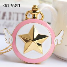 Pocket & Fob Watches Trustful Magic Rhinestone Sakura Pocket Watch For Girls Student Quartz Watches With Gold Necklace Cos Gifts Christmas Birthday Gift Kids