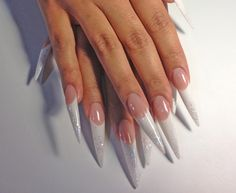 White and silver glitter French twist.