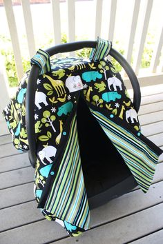 Reversible Car Seat Canopy  Lagoon Zoology and Lagoon by NotyBaby, $47.00