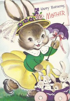 Vintage  Greeting Card  Mother rabbit and bunnies