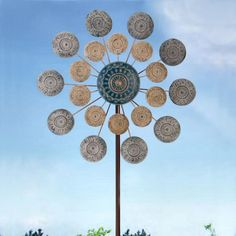 OUTOUR Bright-Coloured Christmas Snow Winter New Year Wind Spinner Wind Sculptures Windmill Decorative Garden Flower Stake for Outdoor Yard Patio Lawn D/écor Decoration