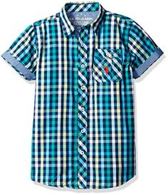 US Polo Assn Big Boys Short Sleeve Plaid Woven Shirt Classic Navy 8 * To view further for this item, visit the image link.Note:It is affiliate link to Amazon.