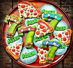 Ninja Turtle Cookies~                    By Vickie sweet tweets, pizza cookies, number, Orange, blue, green