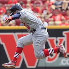 Jon Jay jumping over Carpenters ball hit into the outfield 8-26-12