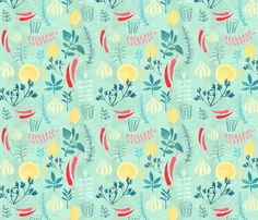 Herbs fabric by redcheeksfactory on Spoonflower - custom fabric--------Kitchen pillow fabric