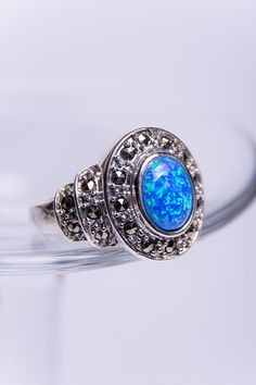 925 Sterling Silver Ring Blue Opaline Marcasite