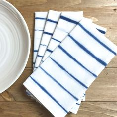 Set of 4 Hand-Dyed Indigo Napkins. The simplicity of this Shibori design is striking on these beautiful cotton napkins. Casual but at the same time sophisticated. The beautiful blue indigo color again