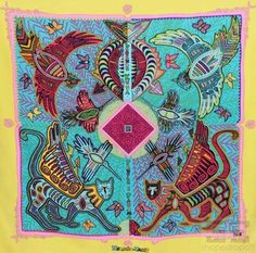 "Hermes Bright Multicolor Silk ""Legende Kuna Peuple de Panama"" 90cm Square Scarf- #Hermes"