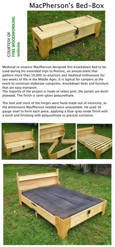 A medieval re-enactor crafts a piece of campaign furniture that would have been the envy of any battlefield brute.  http://www.finewoodworking.com/item/110503/amazing-bed-in-a-box?utm_source=email&utm_medium=eletter&utm_content=fw_eletter&utm_campaign=fine-woodworking-eletter