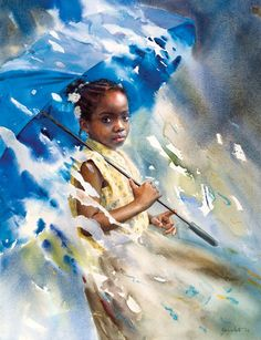 """Blue Umbrella"" by Mary Whyte. Take note of this watercolorist. She is TOTALLY amazing. LOVE her work! <3 ... it's brilliant!"