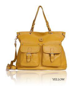 brown/yellow/white litchi grain leather crossbody shoulder messenger bag for women
