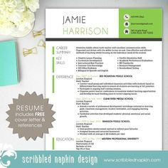 Teacher Resume Template - Resume with Free Cover Letter and References - Instant Download - MS Office