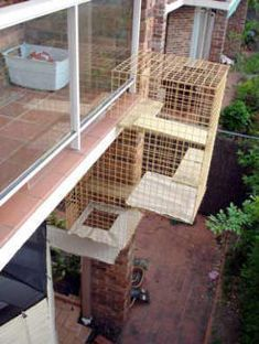 Outdoor Cat runs, cat enclosures & cat cages. Build your own cat run or get a cat enclosure builder. Many ideas for outdoor cat runs Outdoor Cat Run, Wooden Cat House, Dog Enclosures, Cat Habitat, Outdoor Cat Enclosure, Reptile Enclosure, Cat Shelves, Cat Playground, Cat Climbing