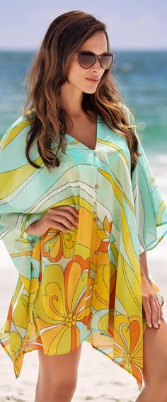 psychedelic beach dress caftan cover-up - article - http://www.boomerinas.com/2015/04/17/dreaming-of-summer-warm-days-vacations-memories-fashion-for-2015/
