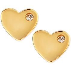 SHY by Sydney Evan Diamond 14k Heart Stud Earrings (195 CAD) ❤ liked on Polyvore