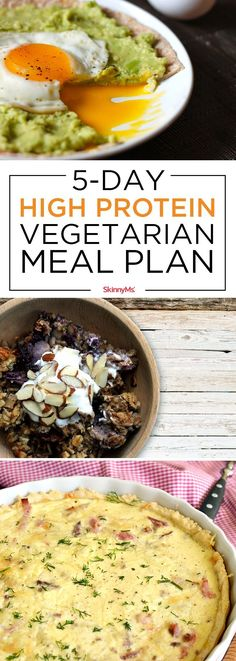 Diet Meal Plans Each of the five days in this high protein vegetarian meal plan includes three deliciously satisfying dishes that are just as easy to make as they are scrumptious! High Protein Vegetarian Recipes, Quick Vegetarian Meals, Going Vegetarian, Vegan Recipes, Cooking Recipes, Vegetarian Italian, Healthy Protein, Vegetarian Lifestyle, Cooking Dishes