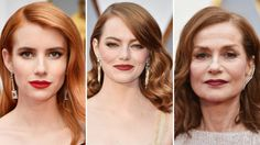 Hair, Makeup & Fashion Takeaways From The Redheads at the 2017 Oscars Redhead Shirts, I Love Redheads, Shirt Hair, Emma Stone, Red Carpet Looks, Oscars, Red Lips, Shirts For Girls, Cool Pictures