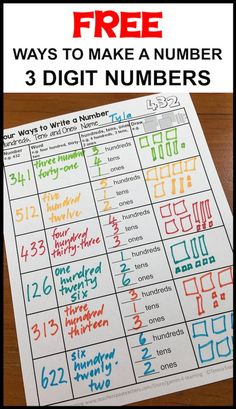 Ways to write a number free place value sheets. This one is for 3 digit numbers with hundreds, tens and ones.