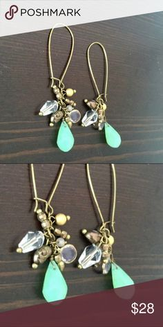 """Anthropologie NEW Jade Green Dangling Earrings Darling Anthropologie Jade Green Dangling Earrings. NWOT. Hang just over 2"""". Easy to match with any outfit 🌟 Anthropologie Jewelry Earrings"""