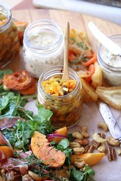 Harvest lunch: Dried Fruit Pickle, Snoek Pate and a Peach, Spiced Honey Nuts & Prosciutto Salad South African Braai, South African Recipes, Ethnic Recipes, Menu Design, Dried Fruit, Prosciutto, Food Presentation, Pickles, Harvest