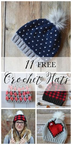 11 FREE Perfect Crochet Hats for Fall - Fill your weekend crochet to-do list with cozy and cute hats, perfect for fall and winter!