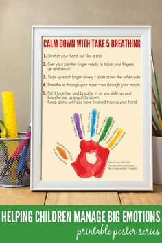 Take 5 Breathing exercise for kids, perfect for helping children learn to calm down and manage big emotions. Complete with free printable poster.