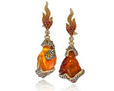 Italian Design Ltd. Lava Earrings made with irregular-shaped fire opals.