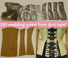 DIY corset pattern, fitted exactly to you, with duct tape ** HAHAHA Yeah. lets do this in a tye dye! Love tye dye duct tape How to draft a patern Diy Corset, Underbust Corset, Pirate Corset, Diy Clothing, Sewing Clothes, Clothing Patterns, Cosplay Tutorial, Cosplay Diy, Tutorials