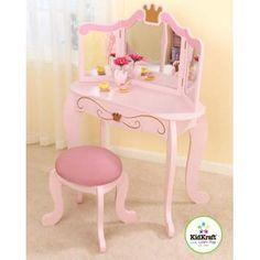KidKraft - Princess Vanity Table w Stool in Pink Finish Little Girl Vanity, Bedroom Vanity Set, Princess Bedrooms, Kids Bedroom Furniture, Children Furniture, Little Girl Rooms, My New Room, Girls Bedroom, Kids Room
