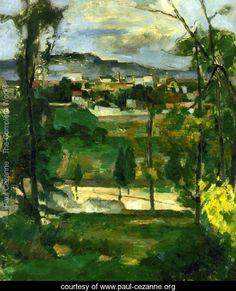 Village behind Trees, Ile de France - Paul Cezanne - www.paul-cezanne.org