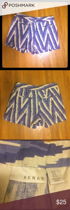 Kenar Blue and White Linen Shorts Super comfy and cute blue and white zigzag patterned shorts by Kenar.  55% linen, 45% cotton.  Worn once.  Size 2 but they fit large, more like a 4. Kenar Shorts
