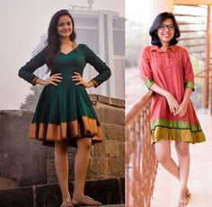 21 Kurti from old saree designs Long Gown Dress, Sari Dress, The Dress, Long Gowns, Short Dresses, Sari Blouse Designs, Kurta Designs, Short Kurti Designs, Indian Gowns Dresses