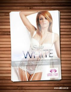 Cartão para divulgar a seção de lingeries brancas da Lótus da Lua.