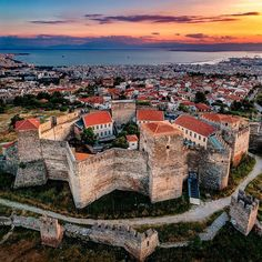 """Thessaloniki Travel on Instagram: """"Heptapyrgion, #Thessaloniki 's Fortress of Seven Towers, tinted in gorgeous golden colour. Who dares to walk all the way up ?…"""" Greece Vacation, Greece Travel, Greek Island Hopping, Travel Expert, Thessaloniki, Canada Travel, Mykonos, Athens"""
