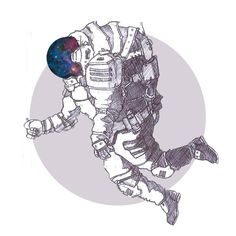 Fly me to the moon - astronaut illustration by JosefHirsch