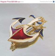 SUMMER SALE Vintage Brooch Red, White, Blue and Gold Anchor via Etsy