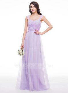 A-Line/Princess Sweetheart Floor-Length Tulle Lace Bridesmaid Dress With Ruffle (007059434) - JJsHouse