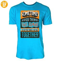 Sinus Art ® Herren T Shirt Better Things Can Fall Together ( Caribbean Blue ) Crewneck Tee with Frontartwork - Shirts mit spruch (*Partner-Link)