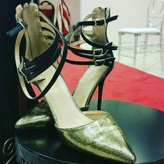 This sexy high heels feature gold pointed toe, with black ankle straps accent, great for any special occasion. Come visit us at The Town Center at Aurora Mall. #localboutique #shopping #shoes#heels  #goldheels #highheels #ladyfashion